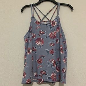 Floral Cross Strap Back Tank Top
